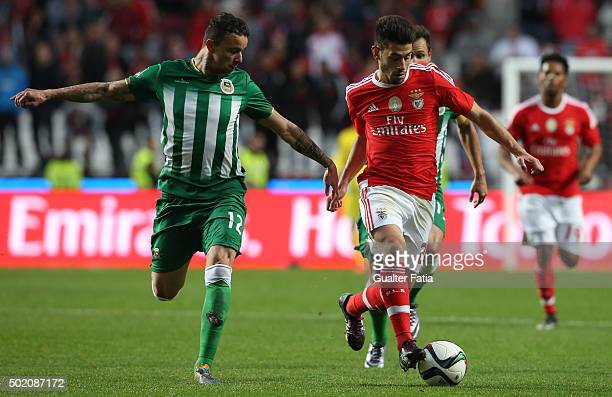 Benfica's midfielder Pizzi with Rio Ave FC's defender Lionn in action during the Primeira Liga match between SL Benfica and Rio Ave FC at Estadio da...
