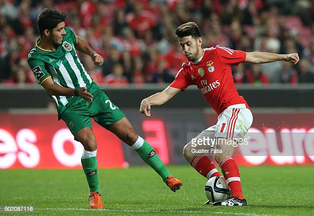Benfica's midfielder Pizzi with Rio Ave FC's midfielder Joao Novais in action during the Primeira Liga match between SL Benfica and Rio Ave FC at...
