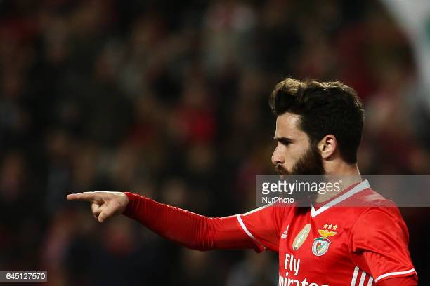 Benfica's midfielder Rafa Silva celebrates after scoring a goal during the Portuguese League football match between SL Benfica and GD Chaves at Luz...