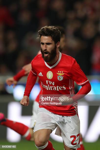 Benfica's midfielder Rafa Silva from Portugal celebrates scoring Benfica second goal during the match between SL Benfica and GD Chaves for the...