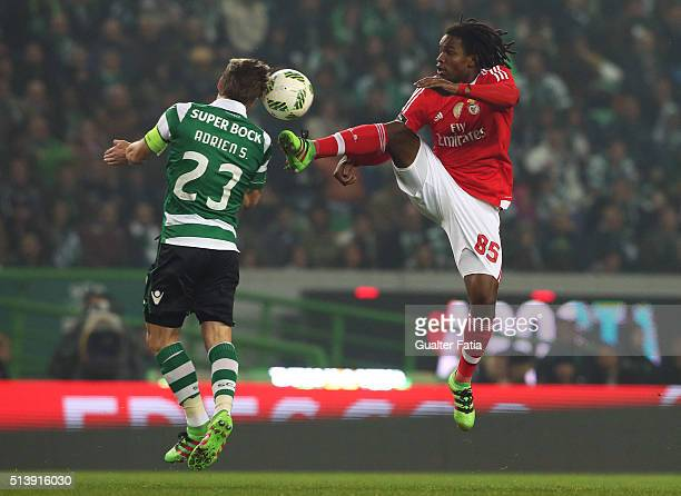 Benfica's midfielder Renato Sanches with Sporting CP's midfielder Adrien Silva in action during the Primeira Liga match between Sporting CP and SL...