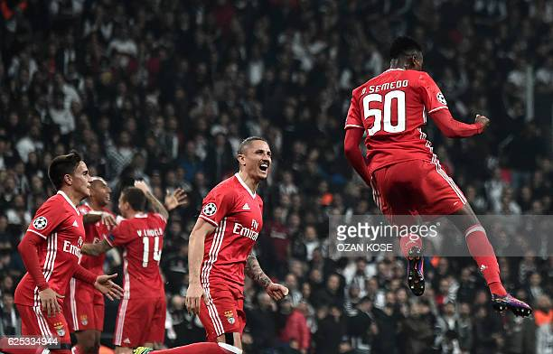 Benfica`s Nelson Semedo celebrates with teammates after scoring a goal against Besiktas during the UEFA Champions League Group B football match...