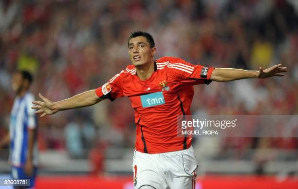 SL Benfica's Paraguayan Oscar Cardozo celebrates after scoring against FC Porto during their Portuguese First league football match at the Luz...