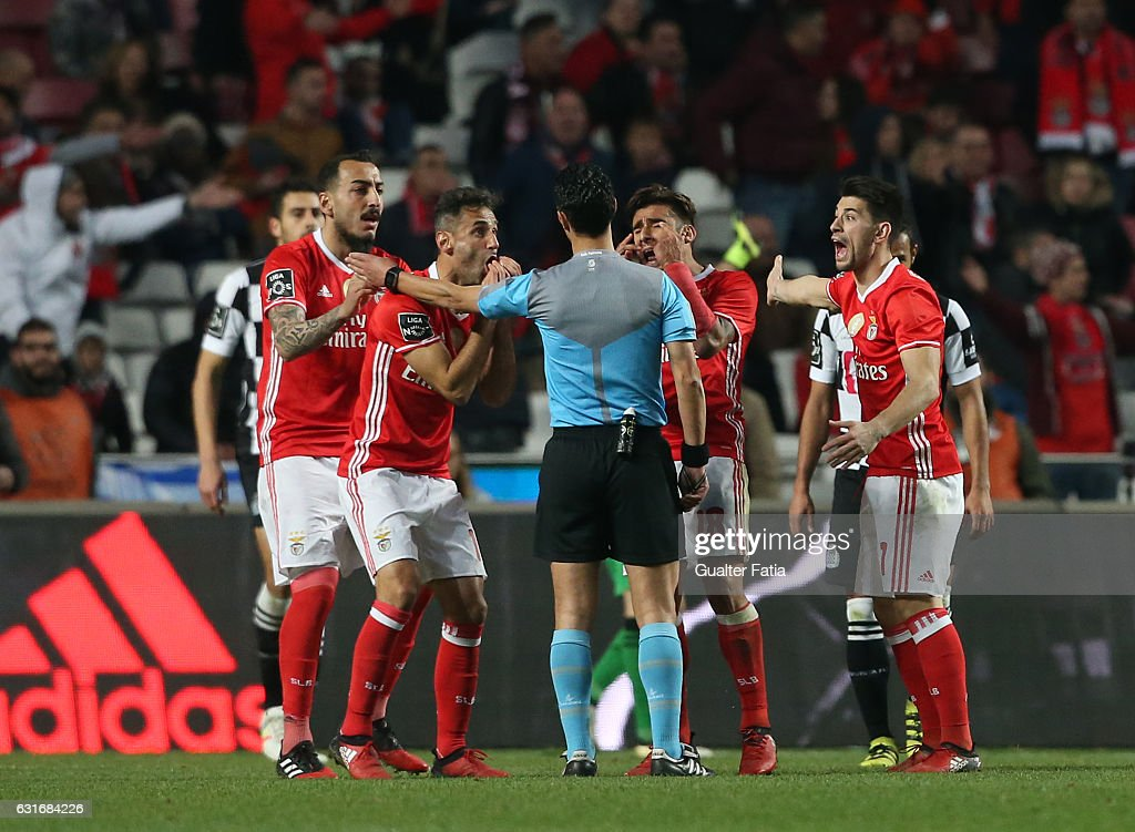 SL Benfica's player reaction after referee's decision during the Primeira Liga match between SL Benfica and Rio Ave FC at Estadio da Luz on January 14, 2017 in Lisbon, Portugal.