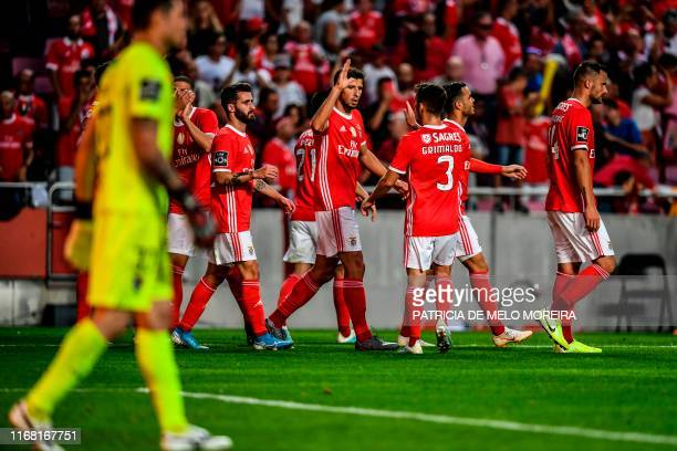 Benfica's players celebrate after Gil Vicente's Brazilian defender Ygor Nogueira scored an own goal during the Portuguese League football match...