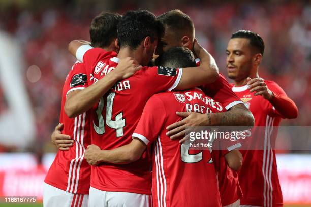 Benfica's players celebrates a goal during the Portuguese League football match between SL Benfica and Gil Vicente FC at the Luz stadium in Lisbon...