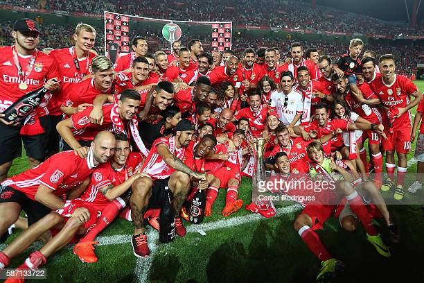 Benfica«s players celebrates wining the Portuguese Supercup at end of the match between SL Benfica v SC Braga for Portuguese Super Cup at Estadio...