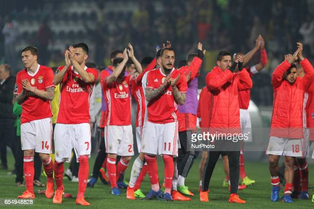 Benfica's players in final match during the Premier League 2016/17 match between Pacos Ferreira and SL Benfica at Mata Real Stadium in Pacos de...