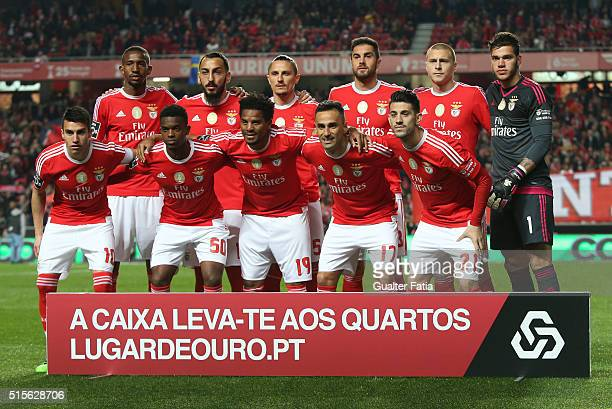 Benfica's players pose for a team photo before the start of the Primeira Liga match between SL Benfica and CD Tondela at Estadio da Luz on March 14...