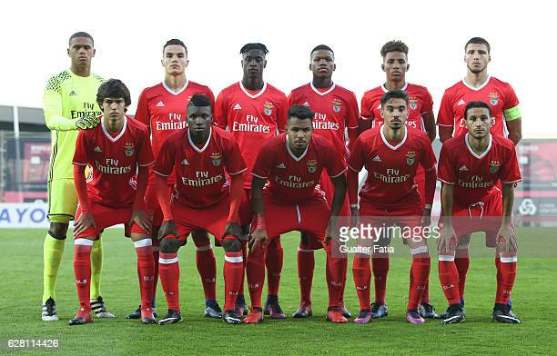 Benfica's players pose for a team photo before the start of the UEFA Youth Champions League match between SL Benfica and SSC Napoli at Caixa Futebol...