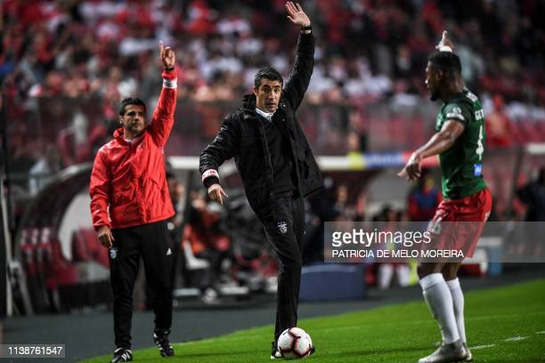 Benfica's Portuguese coach Bruno Lage gestures during the Portuguese League football match between SL Benfica and CS Maritimo at the Luz stadium in...
