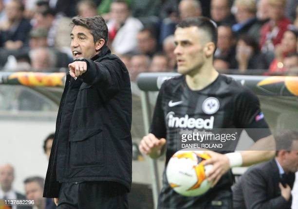 Benfica's Portuguese coach Bruno Lage reacts from the sidelines during the UEFA Europa League quarterfinal second leg football match Eintracht...