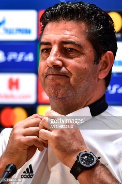 Benfica's Portuguese coach Rui Vitoria addresses a press conference at the Athens' Olympic Stadium on October 1 2018 on the eve of the UEFA Champions...