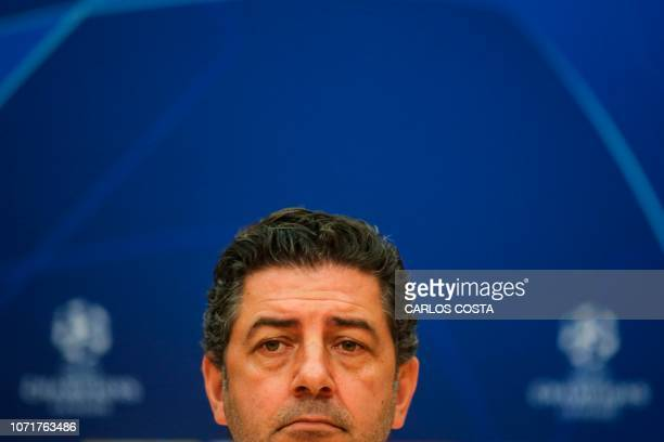Benfica's Portuguese coach Rui Vitoria gives a press conference at the club's training ground in Seixal in the outskirts of Lisbon on December 11 on...