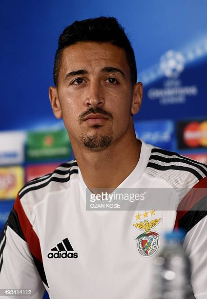 Benfica's Portuguese defender Andre Almeida holds a press conference at TT Arena in Istanbul on October 20 2015 on the eve of the UEFA Champions...