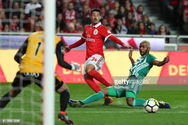 Benfica's Portuguese defender Andre Almeida vies with Rio Ave's defender Marcao during the Portuguese League football match SL Benfica vs Rio Ave FC...