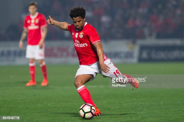 Benfica's Portuguese defender Eliseu during the Premier League 2016/17 match between Pacos Ferreira and SL Benfica at Mata Real Stadium in Pacos de...