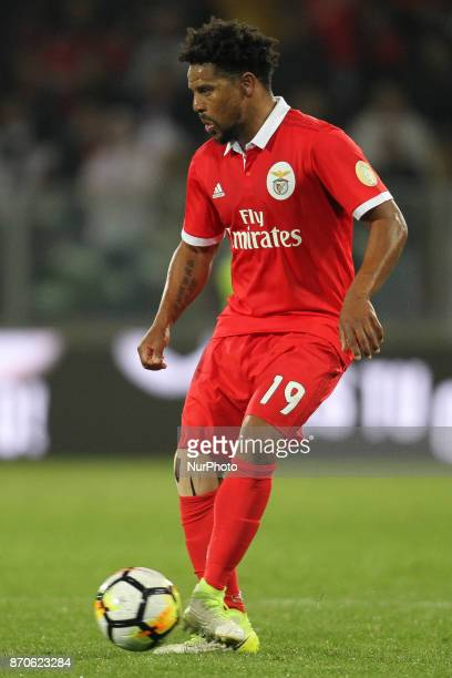 Benfica's Portuguese defender Eliseu during the Premier League 2017/18 match between Vitoria SC and SL Benfica at Dao Afonso Henriques Stadium in...