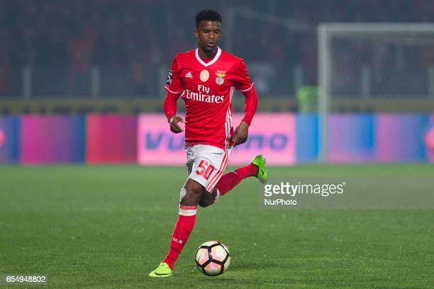 Benfica's Portuguese defender Nelson Semedo during the Premier League 2016/17 match between Pacos Ferreira and SL Benfica at Mata Real Stadium in...
