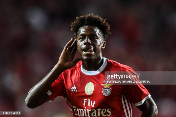Benfica's Portuguese defender Nuno Tavares celebrates a goal during the Portuguese league football match between SL Benfica and FC Pacos de Ferreira...
