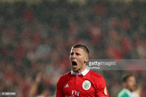Benfica's Portuguese defender Ruben Dias celebrates after scoring a goal during the Portuguese League football match SL Benfica vs Rio Ave FC at the...