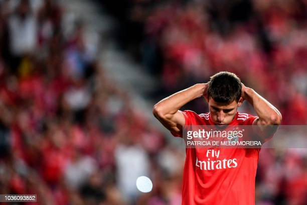 Benfica's Portuguese defender Ruben Dias reacts after missing a goal opportunity during the UEFA Champions League group E football match Benfica v FC...