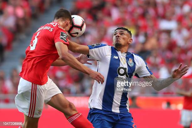Benfica's Portuguese defender Ruben Dias vies with Porto's Brazilian forward Soares during the Portuguese League football match SL Benfica vs FC...