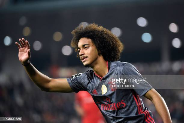 Benfica's Portuguese defender Tomas Tavares gestures during the Portuguese league football match between Gil Vicente FC and SL Benfica at the Cidade...