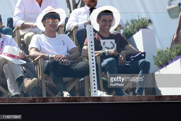 Benfica's Portuguese football player Joao Felix attends the match between David Goffin of Belgium and Joao Sousa of Portugal during the Millennium...