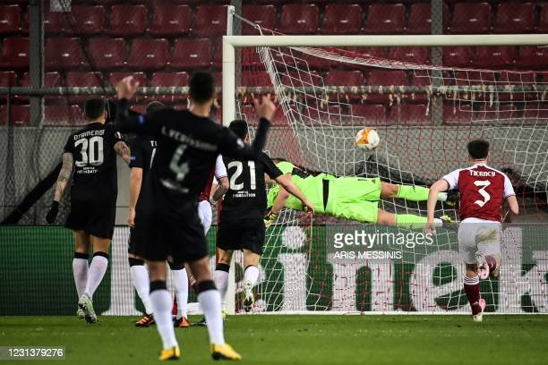 Benfica's Portuguese forward Diogo Goncalves shoots and scores a penalty kick during the UEFA Europa League 32 Second Leg football match between...