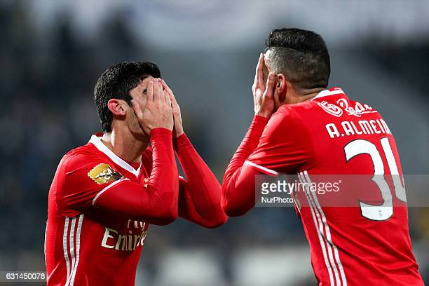 Benfica's Portuguese forward Goncalo Guedes celebrates after scoring a goal with Benfica's Portuguese defender Andre Almeida during the League Cup...