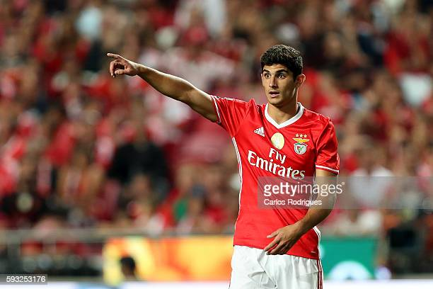 Benfica's Portuguese forward Goncalo Guedes during the match between SL Benfica and Vitoria Setubal FC for the Portuguese Primeira Liga at Estadio da...