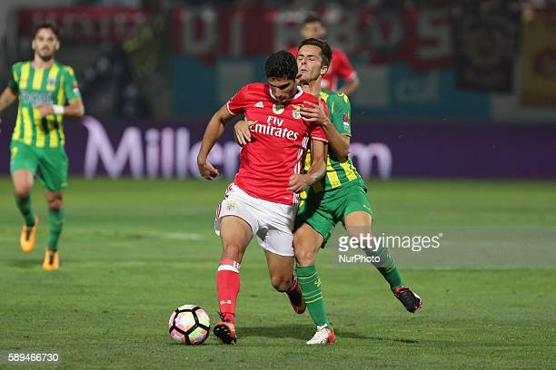 Benfica's Portuguese forward Goncalo Guedes vies with Tondela's Portuguese defender David Bruno during the Premier League 2016/17 match between CD...