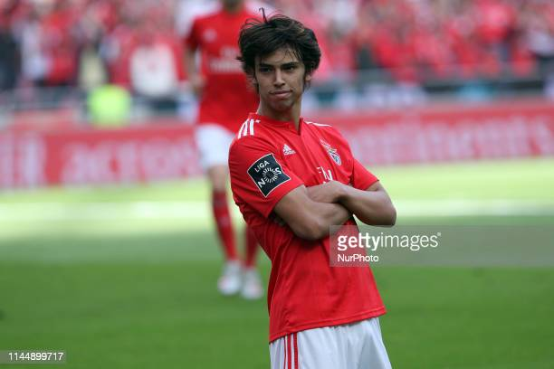 Benfica's Portuguese forward Joao Felix celebrates after scoring a goal during the Portuguese League Primeira Liga football match SL Benfica vs CD...