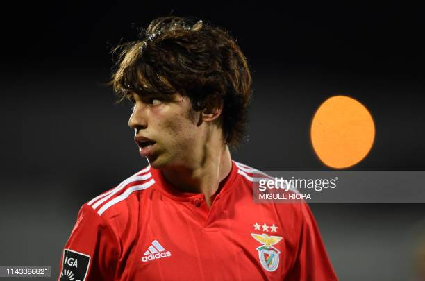 Benfica's Portuguese forward Joao Felix gestures during the Portuguese league football match Rio Ave FC vs SL Benfica at the Dos Arcos stadium in...