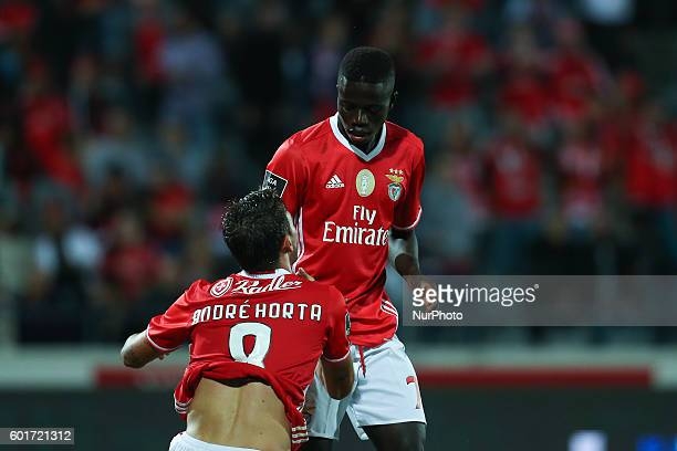 Benfica's Portuguese forward Jose Gomes and Benfica's Portuguese midfielder Andre Horta during Premier League 2016/17 match between FC Arouca and SL...