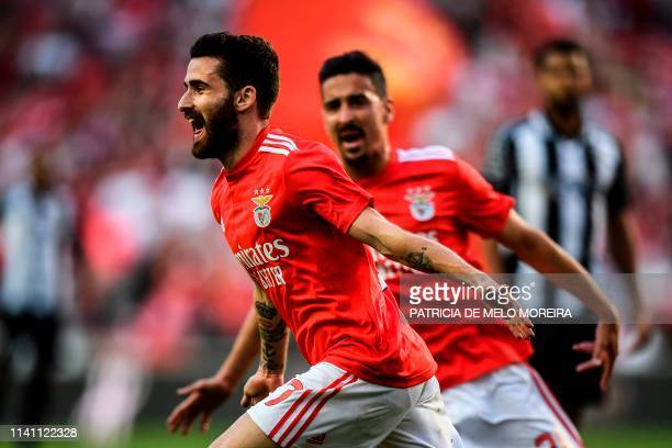 Benfica's Portuguese forward Rafa da Silva celebrates a goal during the Portuguese league football match between SL Benfica and Portimonense SC at...