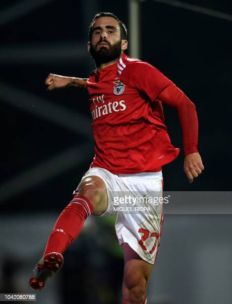 Benfica's Portuguese forward Rafa Silva celebrates after scoring a goal during the Portuguese league footbal match between GD Chaves and SL Benfica...