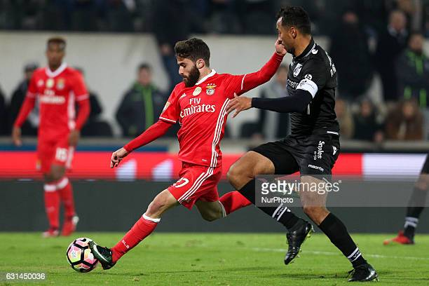 Benfica's Portuguese forward Rafa Silva in action with Vitoria SC's Brazilian defender Pedro Henrique during the League Cup 2016/17 match between...