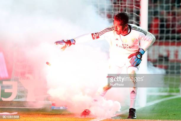 Benfica's Portuguese goalkeeper Bruno Varela during the Portuguese League football match SL Benfica vs Sporting CP at the Luz stadium in Lisbon on...
