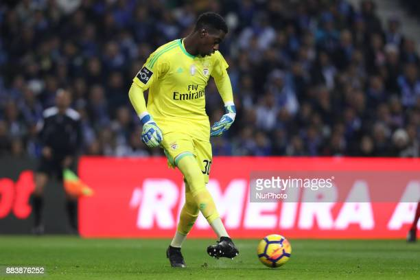 Benfica's Portuguese goalkeeper Bruno Varela in action during the Premier League 2016/17 match between FC Porto and SL Benfica at Dragao Stadium in...