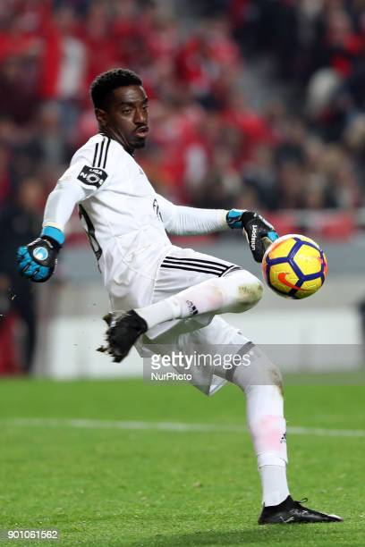 Benfica's Portuguese goalkeeper Bruno Varela in action during the Portuguese League football match SL Benfica vs Sporting CP at the Luz stadium in...