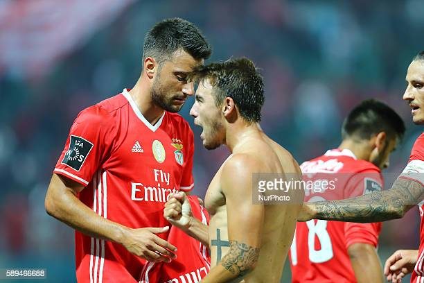 Benfica's Portuguese midfielder Andre Horta celebrates after scoring a goal during the Premier League 2016/17 match between CD Tondela and SL Benfica...