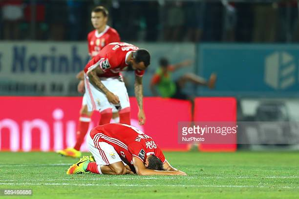 Benfica's Portuguese midfielder Andre Horta celebrates the victory in the match during the Premier League 2016/17 match between CD Tondela and SL...