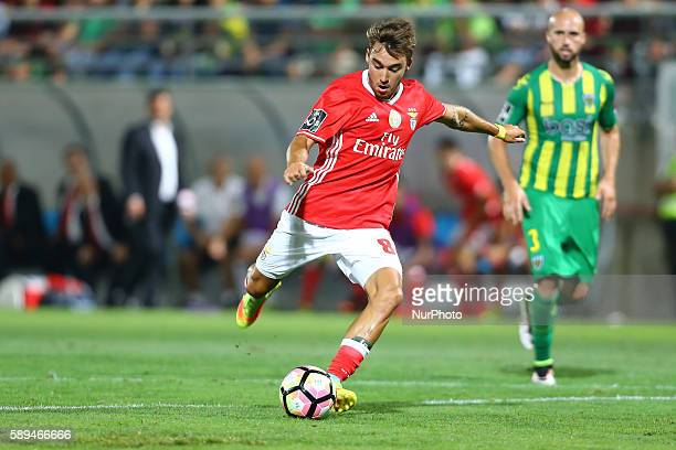 Benfica's Portuguese midfielder Andre Horta score a goal during the Premier League 2016/17 match between CD Tondela and SL Benfica at Joao Cardoso...