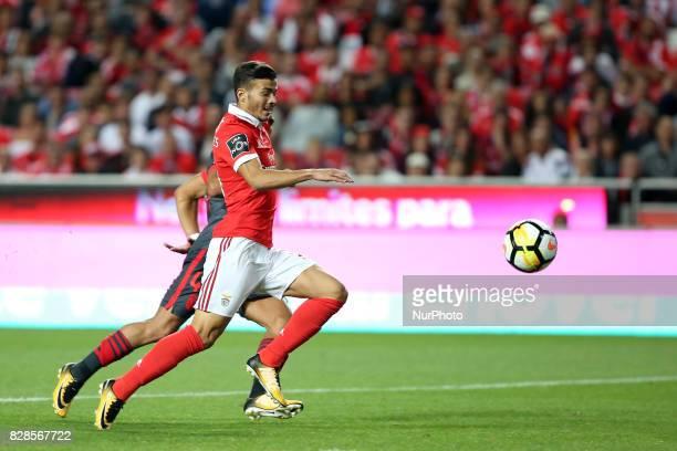 Benfica's Portuguese midfielder Diogo Goncalves in action during the Portuguese League football match SL Benfica vs SC Braga at Luz stadium in Lisbon...