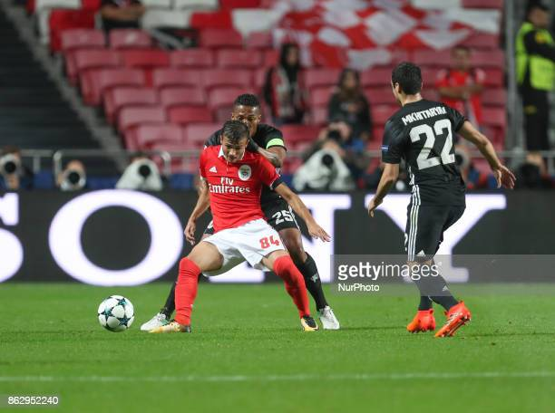 Benfica's Portuguese midfielder Diogo Goncalves in action during the UEFA Champions League football match SL Benfica vs Manchester United at the Luz...