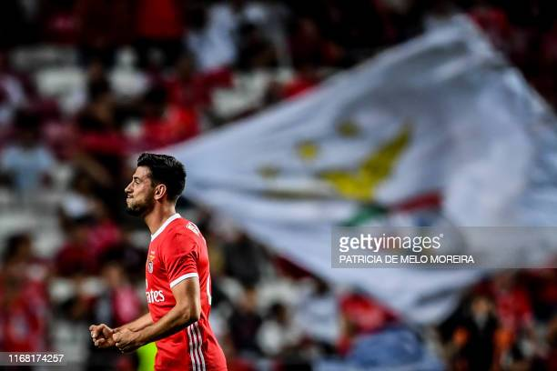 Benfica's Portuguese midfielder Gedson Fernandes celebrates after scoring a goal during the Portuguese League football match between SL Benfica and...