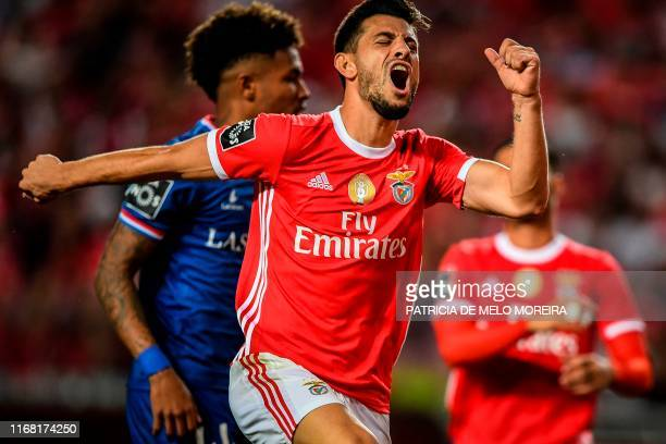 Benfica's Portuguese midfielder Gedson Fernandes reacts during the Portuguese League football match between SL Benfica and Gil Vicente FC at the Luz...
