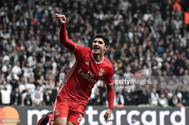 Benfica's Portuguese midfielder Gocalo Guedes celebrates after scoring a goal during the UEFA Champions League Group B football match between...